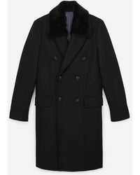 The Kooples Double-breasted Coat With Detachable - Black