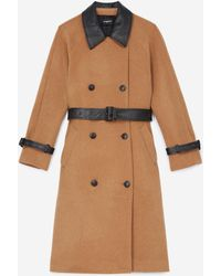 The Kooples Trench-style Beige Wool Coat - Multicolour