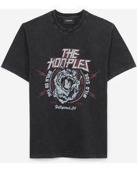 The Kooples Zwart Verwassen T-shirt Van Katoen Met Tijger