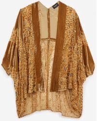 The Kooples Korte Beige Fluwelen Kimono Met Luipaardprint - Naturel