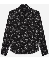 The Kooples Soepelvallend Zwart Hemd Met Witte Bloemen