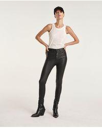 The Kooples Slim Fit Zwarte Stretch Jeans Met Leereffect - Meerkleurig
