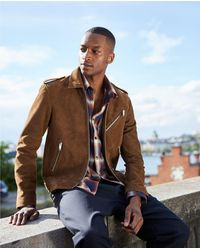 The Kooples Biker-style Camel-coloured Leather Jacket - Brown