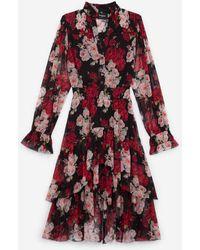 The Kooples Langes elegantes Kleid mit Blumenprint - Mehrfarbig