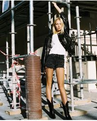 The Kooples Faded Shorts With Studs - Black