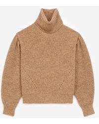 The Kooples Pullover Merinowolle beige Stehkragen - Natur