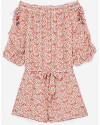 The Kooples Rosafarbene Combishorts aus Seide mit Very Vintage-Print - Pink