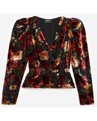 The Kooples Burnout Velvet Top With Orange Floral Print - Multicolour