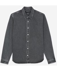 The Kooples Zwart Verwassen Spijkerhemd Met Knopen - Grijs
