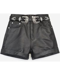 The Kooples High-waisted Black Leather Shorts With Belt