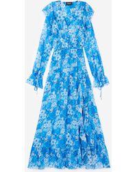 The Kooples Kleid lang blau Blumenprint