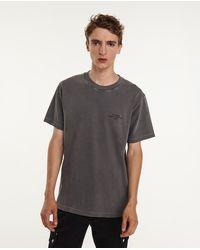The Kooples Grijs Katoenen T-shirt Met Print In Contrasterende Kleur