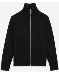 The Kooples Black Cardigan In Wool With High Neck