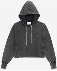 The Kooples Verwassen Grijze Sweater Capuchon En Stras - Zwart
