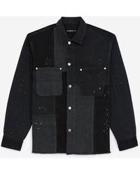 The Kooples Zwart Denim Hemd Met Patchwork Pasjes