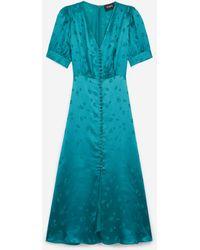 The Kooples Long Satin Short-sleeve Green Dress W/buttons
