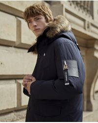 The Kooples Blue Parka With Faux Fur Hood