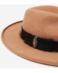 The Kooples Cognac felt hat with jewelled trim - Marrón