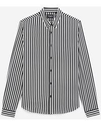 The Kooples Schwarz-weißes Seidenhemd mit feinen Streifen