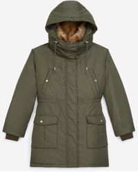 The Kooples Hooded Khaki Parka With Faux Fur - Green