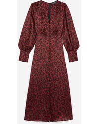 The Kooples Long Burgundy Dress With Leopard Motif - Red
