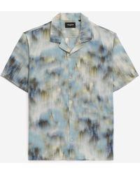 The Kooples Wit En Blauw Zijden Hemd Met Print