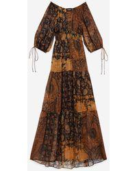 The Kooples Black And Orange Long Printed Dress - Multicolor