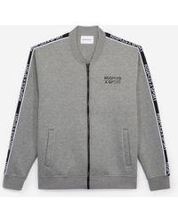 The Kooples Grijze Sweater Met Rits Teddy En Logoband - Grijs