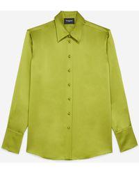 The Kooples Kaki Zijden Hemd Met Franse Knoopmanchetten - Groen