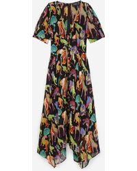 The Kooples Long Loose Dress With Jungle Print - Multicolor
