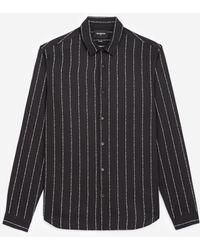 The Kooples Zwart Gestreept Overhemd Met Klassieke Kraag