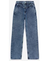 The Kooples Naomy Wide-leg Blue Jeans With Padded Detail