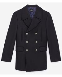 The Kooples Navy Blue Wool Pea Coat With Black Buttons