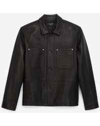 The Kooples Overshirt-style Black Leather Jacket