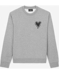 The Kooples Grijs Katoenen Sweatshirt Met Geborduurd Hart