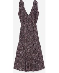 The Kooples Schwarzes langes Kleid und rosa Punkt-Muster - Mehrfarbig