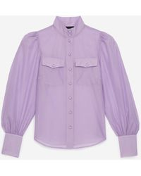 The Kooples - Camisa violeta clásica cuello alto - Lyst