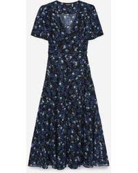 The Kooples Kleid lang Blumenprint Silberdetail - Blau