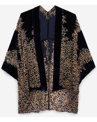 The Kooples Korte, Marineblauwe Fluwelen Kimono Met Print
