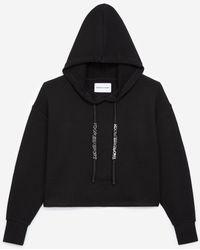 The Kooples Zwarte Sweater Met Capuchon, Koord En Print