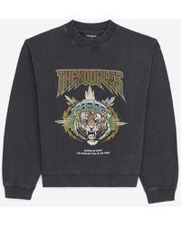 The Kooples Zwarte Verwassen Sweater Met Tijgerprint - Meerkleurig