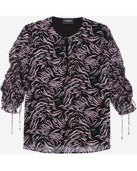 The Kooples Roze/zwarte Soepelvallende Top Met Zebraprint