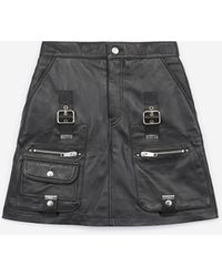 The Kooples - Black Leather Skirt With Straps - Lyst
