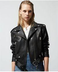 The Kooples Black Leather Biker Jacket With Zips