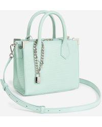 The Kooples Medium Ming Bag In Green Snake-effect Leather - Blue