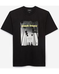 The Kooples Zwart Katoenen T-shirt Met Tropische Print