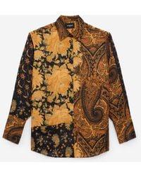 The Kooples Camisa negra naranja fluida estampada - Multicolor