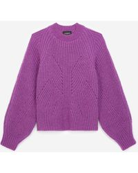 The Kooples Knit Purple Jumper With Puffed Sleeves