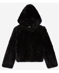 The Kooples Zwarte Sweatshirt In Stijl Van Imitatiebont