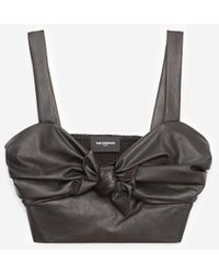 The Kooples Leather-effect Black Bustier Top With Straps